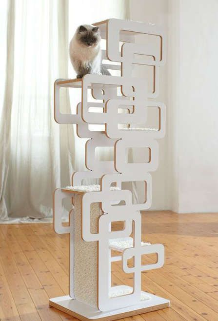 arbre a chat blanc design. Black Bedroom Furniture Sets. Home Design Ideas
