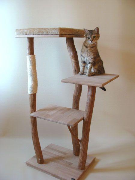 fabriquer un arbre a chat en bois naturel. Black Bedroom Furniture Sets. Home Design Ideas
