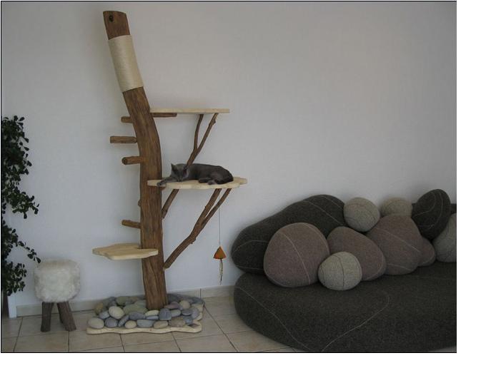 arbre a chat en bois veritable. Black Bedroom Furniture Sets. Home Design Ideas